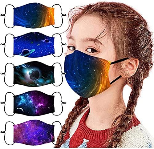 [US Stock] 5 confezioni di maschere protettive per bambini riutilizzabili e lavabili in morbido cotone per ragazzi e ragazze, motivo spaziale con passanti regolabili per le orecchie,