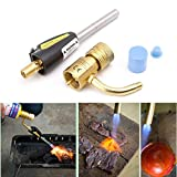 Gas Self Ignition Turbo Torch Brazing Soldering Propane Gas Welding Plumbing Gun Tool, 4 Adjustable Temperature & Flame
