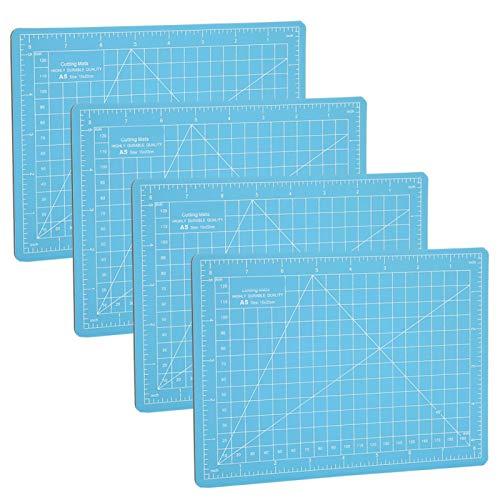 Cortador de tela azul cielo de 4 piezas, almohadilla de corte azul cielo tamaño A5, tablero de escala de grabado para evitar que la hoja raye el escritorio
