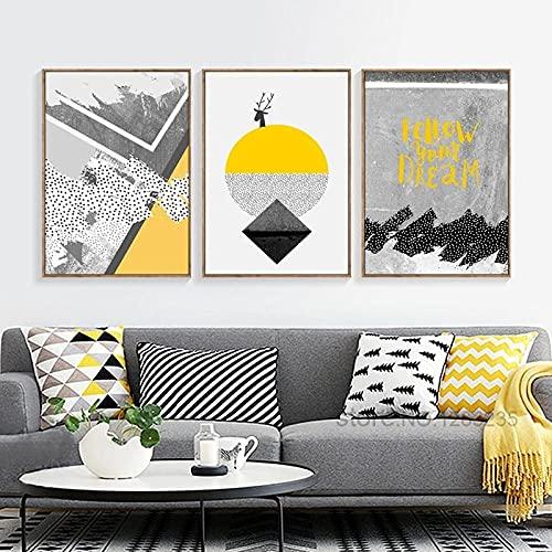 Carteles e impresiones de ciervos abstractos Cuadros de pared para sala de estar Arte de la pared Pinturas geométricas amarillas grises Póster nórdico Sin marco-40X60X3 piezas Sin marco
