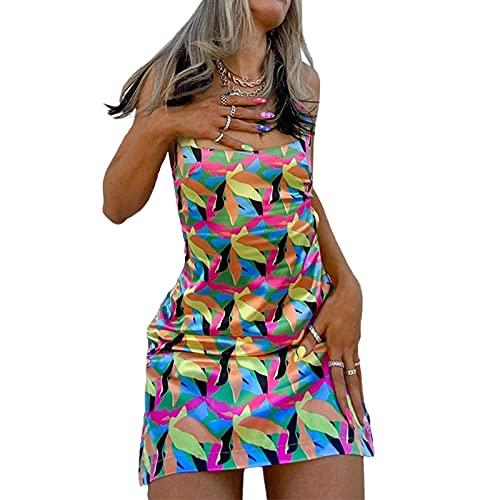 Madger Vestido para mujer, casual, de verano, sexy, sin mangas, mini vestido de tirantes de espagueti, vestido corto Y2k, vestidos de playa impresos