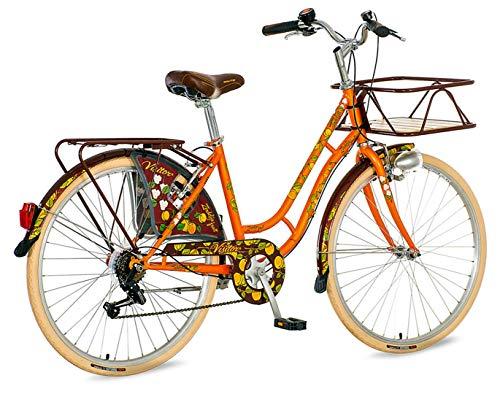 breluxx® 26 Zoll Damenfahrrad Venera Fashion Apricot Citybike Korb + Licht Retro Damenrad, 6 Gang Shimano, weiße Reifen