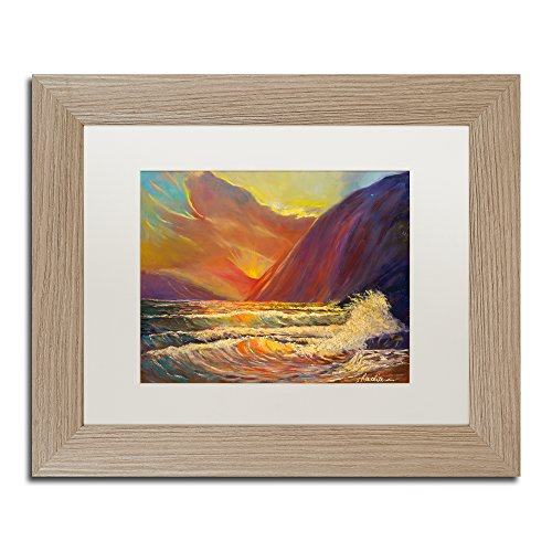 Manor Shadian Hawaiian Coastal Sunset Bilderrahmen, Weiß matt, Birkenholz, 28,9 x 35,6 cm