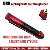 plancha de pelo wangZJ/rizador perezoso inalámbrico de clip recto/rizador de pelo de carga USB/plancha de pelo portátil mini/rosa roja