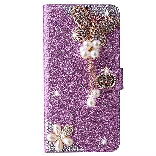 Hülle Case für Samsung Galaxy J6 Plus Glitzer Krone Bling Strass Perlen Diamant Blumen Ultra Handyhülle Flip Schutzhülle mit Standfunktion Handytasche Cover PU Handy Schutz Handyhülle Mädchen lila