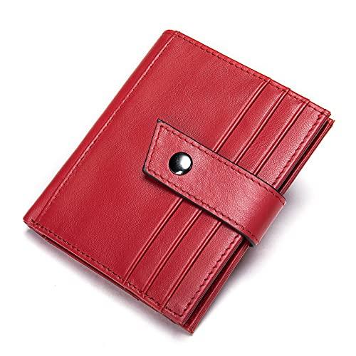 Tarjetero Delgado para Tarjetas De Crédito Cartera De Cuero con Bloqueo RFID Cartera Simple Mujer Hombre para Tarjetas (Color : Red, Size : 3.54x4.13inch)