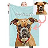 Personalized Pet Portrait Throw Blanket, Custom Cartoon Blankets with Dog Photos Customized Soft Flannel Blanket for Cat, Upload Your Image(30'x40')