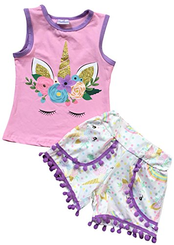 Little Girls 2 Pieces Top Short Set Magical Unicorn Tops Rainbow Shorts Outfit Pink OW 3T S (P201398P)
