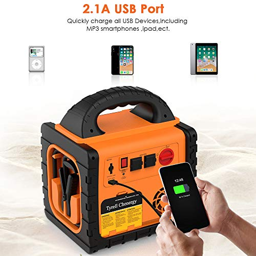 Tyrell Chenergy 12V Car Jump Starter Power Station, 1400 Peak Car Battery Charger 260 PSI Air Compressor, Dual AC Ports 400W Inverter, 5V/2.1A USB, Battery Clamps
