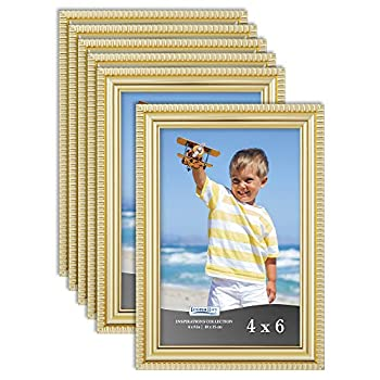 Icona Bay 4x6 Picture Frames  Gold 6 Pack  Beautifully Detailed Molding Contemporary Picture Frame Set Wall Mount or Table Top Inspirations Collection