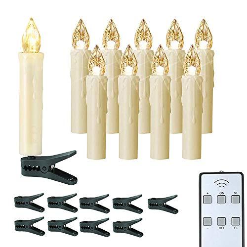 SDlamp 2 Conjunto De 10Pc / Lote LED Velas Árbol De Navidad Decoración Luz De Decoración, Control Remoto Flickering Flame Battery Operado con Clips De Candelabro, para El Hogar