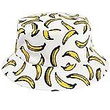 Tacobear Unisex Pescador Sombrero Bucket Gorro Bucket Hat con Estampado de Frutas Sombrero de Sol Aire Libre Plegable Gorra Protección contra Sol UV para Hombre y Mujer (Blanco Plátano)