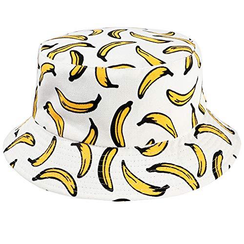 Tacobear Unisex Fischerhüte Sonnenhut Reversibel Bucket Hat Outdoor-Hut Strandhut mit Früchte Druck Für Damen Herren Jugendliche (Weiße Banane)