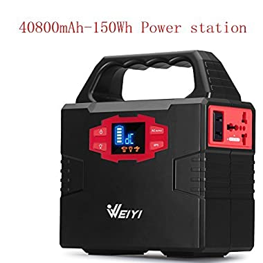 WEIYI 100-Watt Portable Solar Generator Power Station Power Inverter-Gas-free With Outputs AC 110V (Max 150Wh) 2USB-3.5A,3DC-12V/15A, Charged by Solar/AC. Built-in Li-on Battery Capacity 40800mAh