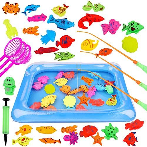 GOLDGE 42PCS Juguete de Pesca para Niño, Juguete de la Flotando Pesca Conjunto para Niños, Juguete Pesca de Diversion y Deportes al Aire Libre para Bebe