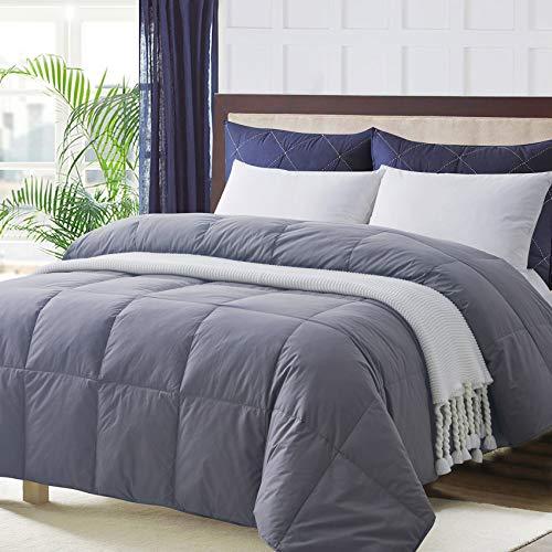 Ubauba All-Season King Down Comforter 100% Cotton Quilted Feather Comforter with Corner Tabs. Lightweight Goose Down Duvet Insert Grey Cotton Comforter - King 106x90