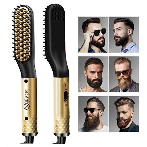 Bartglätter für Männer, Haarglätter Bürste für Bart und Haar, 2 im 1 Multifunktion Elektrische Bartbürste, Haarglätter Bürste mit MCH-Technologie, Verbrühungsschutz & Hitzebeständigen