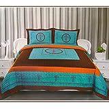 Western Peak 3-Piece Cross Barb Wire Cabin/Lodge Quilt Bedspread Coverlet Set Turquoise (Queen)