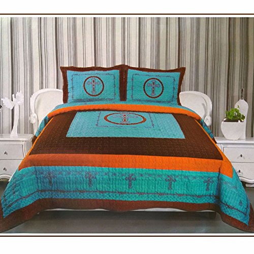Western Peak 3-Piece Cross Barb Wire Cabin/Lodge Quilt Bedspread Coverlet Set Turquoise (King)