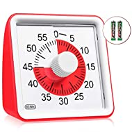 60 Minute Visual Timer, Classroom Countdown Clock, Analog Timer for Kids and Adults, Time Management Tool for Teaching, Study, Homework, Meeting, Cooking - Red