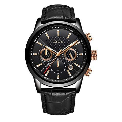 LIGE Relojes para Hombre Fashion Business Reloj de Cuarzo Caballero Reloj Deportivo Blanco Cronógrafo clásico Impermeable