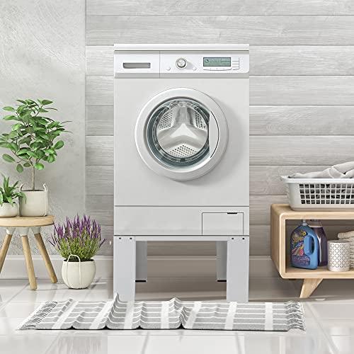 ECD Germany Waschmaschinen Untergestell, 63x54,5x32,5 cm, Weiß, aus Stahl, bis 150kg, stabiler Waschmaschinensockel, Waschmaschinenerhöhung, Waschmaschinen-Unterbau, Podest für Waschmaschine, Trockner