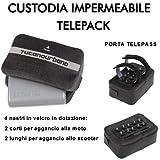 Tucano Urbano - Porta telepeaje impermeable 491 - Fijación con cintas de velcro sobre manillares tubulares - 2 cortas para moto + 2 largas para fijación al scooter y ventosas antideslizantes
