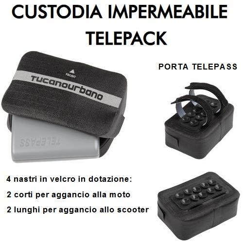Porta telepeaje Impermeable Tucano Urbano 491 fijación con Cintas de Velcro sobre manillares tubulares 2 Cortos para Moto + 2 Largos para enganchar al Scooter y ventosas Antideslizantes