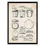 Nacnic Poster con patente de Dispositivo de sellado de botellas. Lámina con diseño de patente antigua en tamaño A3 y con fondo vintage