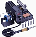Soldering Station, Holife Digital Display Soldering Iron Station with Adjustable Temperature Copper Transformer, ℃/℉ Switch, Solder Holder with Cleaning Sponge, 3 Pcs Soldering Iron Tips, (3 Pcs)