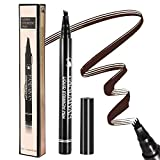 Tattoo Eyebrow Pen Liquid Eyebrow Pencil with Four Tips Long-lasting Waterproof Brow Eyebrow Eyeliner Pencil Brow Gel for Creating Natural Eyes Makeup Drawing Eyebrow and Eyeliner(Dark Brown)