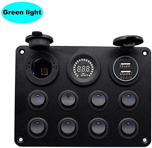 12-24 8 Gang Toggle Switch Panel Dual USB-ingang Charger Groene LED Voltmeter 12V Stopcontact voor Car Boot Marine RV Truck
