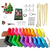 24 Colors Polymer Molding Clay Set with Box Packaged,Oven Baking Clay Kit with 5 Sculpting Tools and 33 Accessories,0.7oz Per Block,Great DIY Clay Crafts Gifts