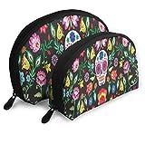 Bolsa de viaje con cremallera, organizador de cosméticos, bolsa de viaje para maquillaje Taro y flores tropicales, bolsa de almacenamiento