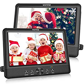 WONNIE 10.5  Two DVD Players Dual Screen Portable Twins CD Player for Car Play a Same or Two Different Movies with 5-Hour Rechargeable Battery 2 Mounting Brackets Support USB/SD Card Reader
