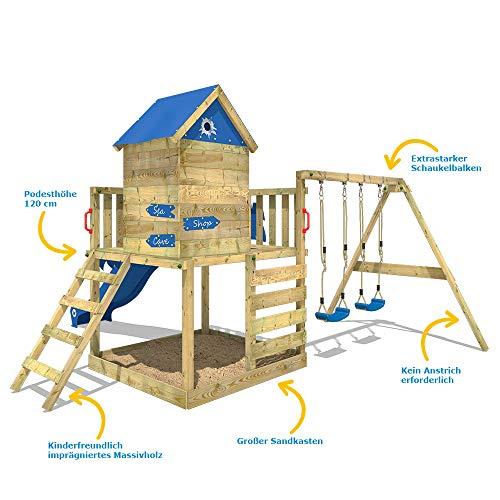 WICKEY Spielturm Klettergerüst Smart Cave mit Schaukel & blauer Rutsche, Baumhaus mit Sandkasten, Kletterleiter & Spiel-Zubehör - 2