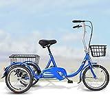 YZ-YUAN Triciclo para Adultos de 3 Ruedas para Deportes al Aire Libre, con Cesta...