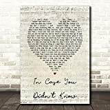 in Case You Didn't Know Script Heart Song Lyric Quote Wall Art Gift Print