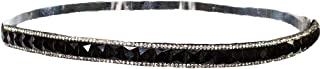 Mia Embellished Headband, Beautiful Pretty Black Square Rhinesstones And Clear Diamond Edges, Velvet Lined, For Women and Girls 1pc