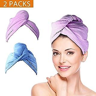 Duomishu - Juego de 2 toallas de pelo con botones, secado de microfibra, toalla de ducha con botones, secado rápido, sombrero de pelo seco, toalla de baño envuelta (azul y morado), Normal, Azul y púrpura