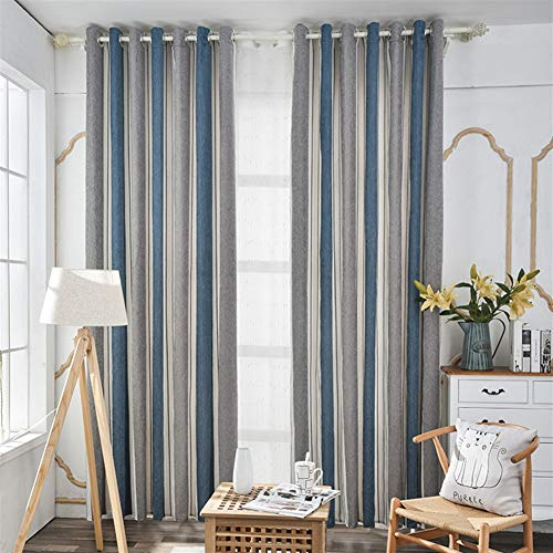 Ommda Cortinas de Salon 2 Piezas Rayas Opacas Termicas Apagón Eleyet Multicolor Cortinas Dormitorio Moderno Gris y Azul,140x245cm
