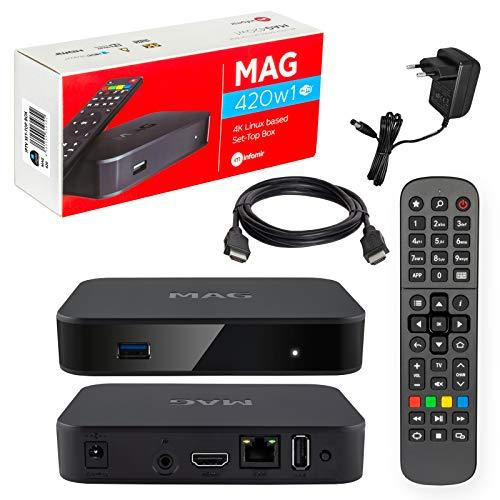 Mag 420w1 Original Infomir & HB-DIGITAL 4K IPTV Set Top Box Multimedia Player Internet TV IP Receiver # 4K UHD 60FPS 2160p@60 FPS HDMI 2.0# HEVC H.256 # Arm Cortex-A53 # WiFi (802.11n) + Cavo HDMI