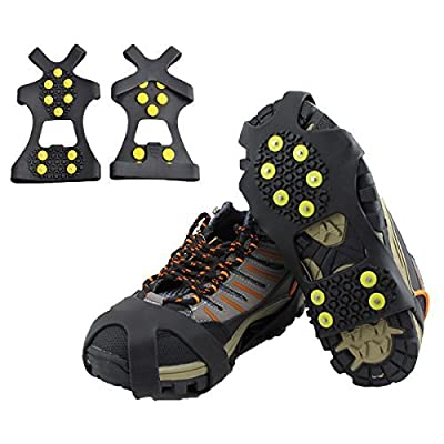 HoFire Ice Cleats, Ice Grips Traction Cleats Grippers Non-Slip Over Shoe/Boot Rubber Spikes Crampons Anti Easy Slip 10 Steel Studs Crampons Slip-on Stretch Footwear (10-Studs-Black, M)