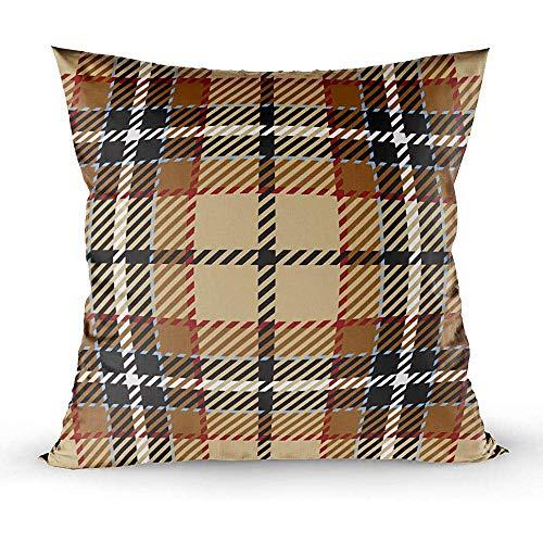 Sonder-Shop Kissenbezüge, Kissenbezug Couch Tartanmuster Rotbraun Weiß Kariertes Flanellhemd Muster Trendy Fliesen Dekokissen