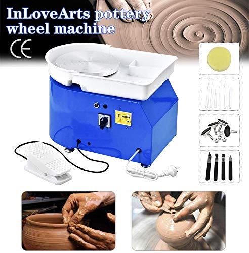 InLoveArts 25 CM 350 Watt Elektrische Töpferscheibe Maschine Unabhängige Fußpedale Keramik Arbeit Ton Kunsthandwerk DIY Ton Werkzeug mit Tablett und 8 Stück Ton Tool Kit (Blau)
