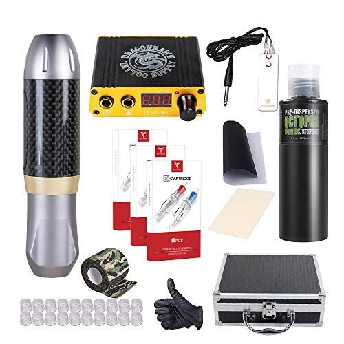 Dragonhawk Tattoo Pen Kit Rotary Tattoo Machine Carbon Fiber Frame Machine Tattoo Power Supply Tattoo Needles