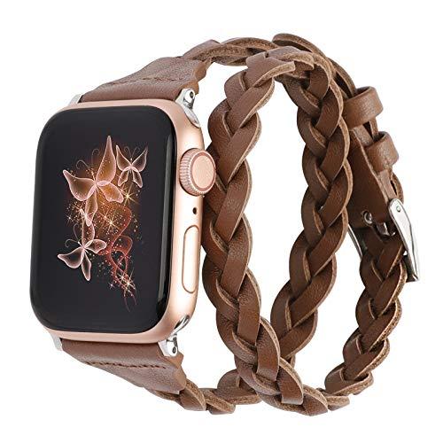 Wearlizer Double Lederband Kompatibel mit Apple Watch 42mm 44mm, Damen Mädchen Gewebt Schlankes Leder Uhrenarmband Double Tour Armband Ersatz für iWatch SE Serie 6 5 4 3 2 1 Dunkelbraun