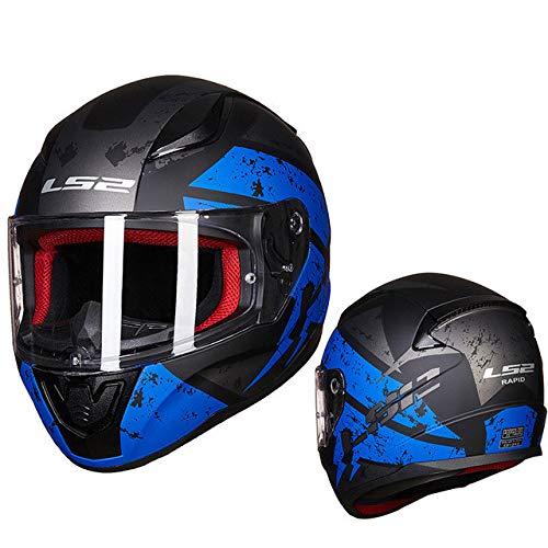 MYSdd Vollvisier Motorradhelm ABS verstärkt Shell Mann Frau Racing Motorradhelm schnell und einfach Schnalle - blau ändern X XS