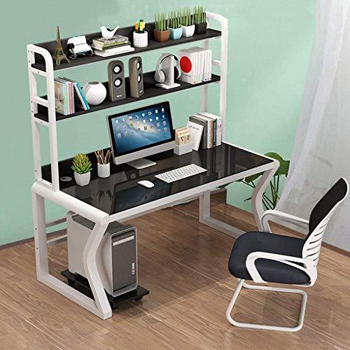 Escritorio de la computadora Mesa de escritorio de la computadora, vidrio templado del dormitorio del hogar, mesa de estudio de la oficina, escritorio, estantería, escritorio combinado, trabajo de la