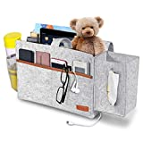 SIMBOOM Bedside Organizer, Felt Bed Storage Caddy with Tissue Box and Water Bottle Holder, Magazine Phone Tablet Remote Holder for Home College Dorm Bed Rails, Sofa, Bunk Beds - Light Grey
